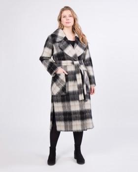 Длинное пальто в черно-белую клетку
