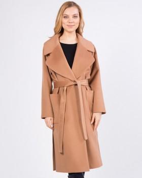 Пальто цвета кэмел прямого силуэта