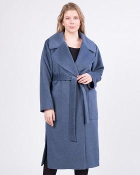 Длинное пальто с накладными карманами