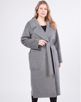 Серое пальто с боковыми разрезами