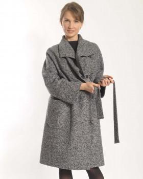 Пальто женское из  трикотажа меланж