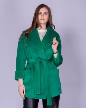 Укороченное пальто с воротником апаш из альпака