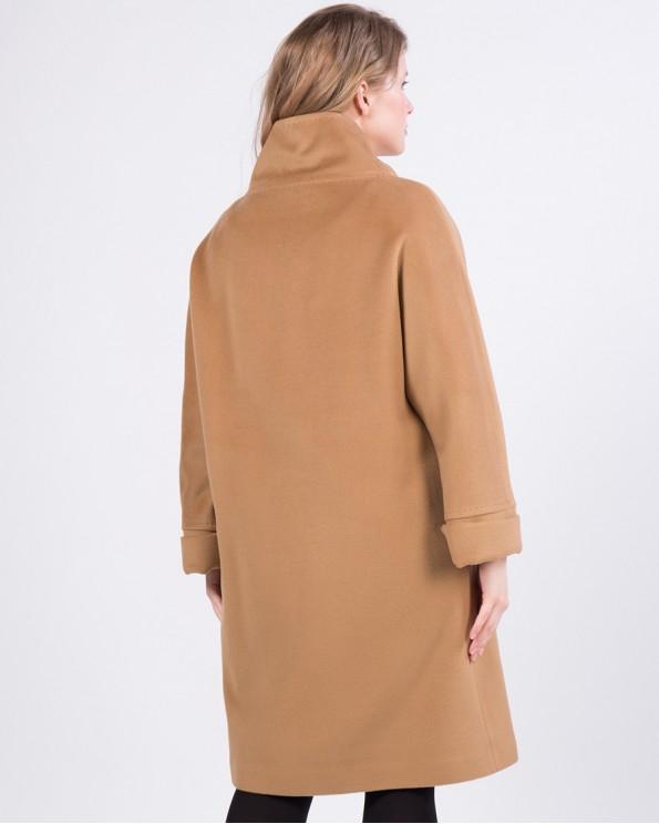 Бежевое утепленное пальто из шерсти