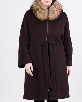 Утепленное пальто с мехом ALVO