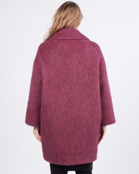 Сиреневое прямое пальто из шерсти