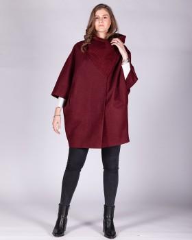 Укороченное пальто оверсайз с большим воротником