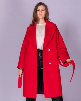 Шерстяное женское пальто цвет малина