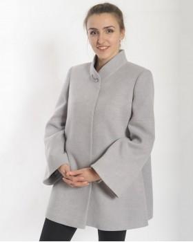Расклешенное короткое серое пальто ALVO