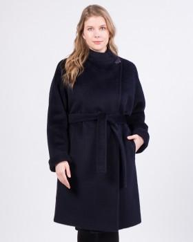Пальто из альпака синего цвета