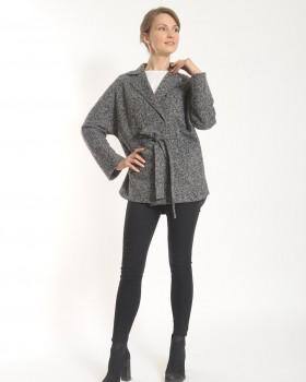 Короткое черно-белое пальто ALVO