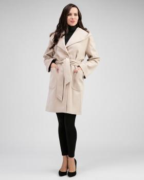 Бежевое женское пальто из 100% шерсти с капюшоном