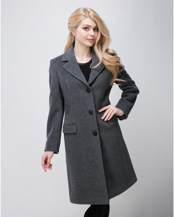 Классическое приталенное серое пальто