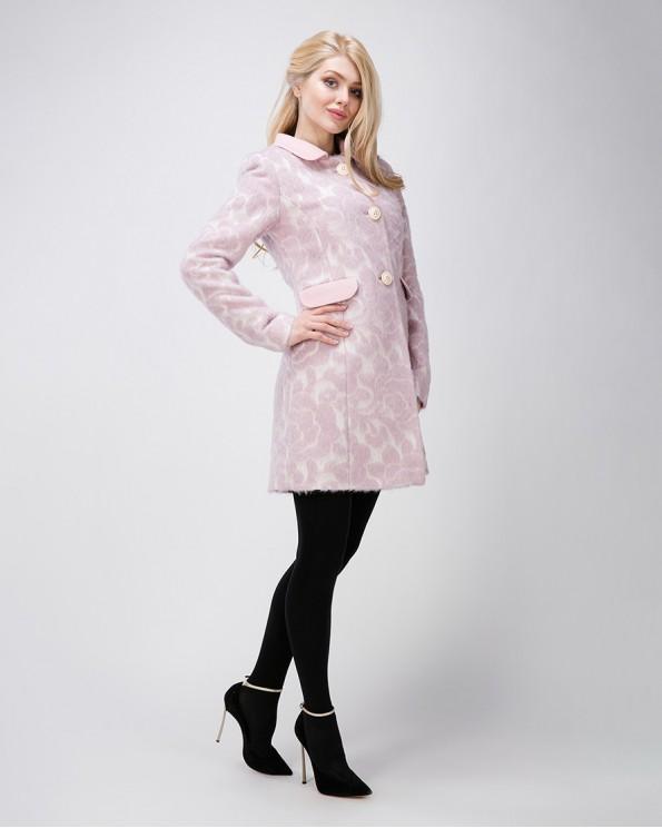Розовое пальто для женщин с цветами