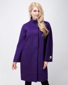 Красивое пальто кокон фиолетового цвета