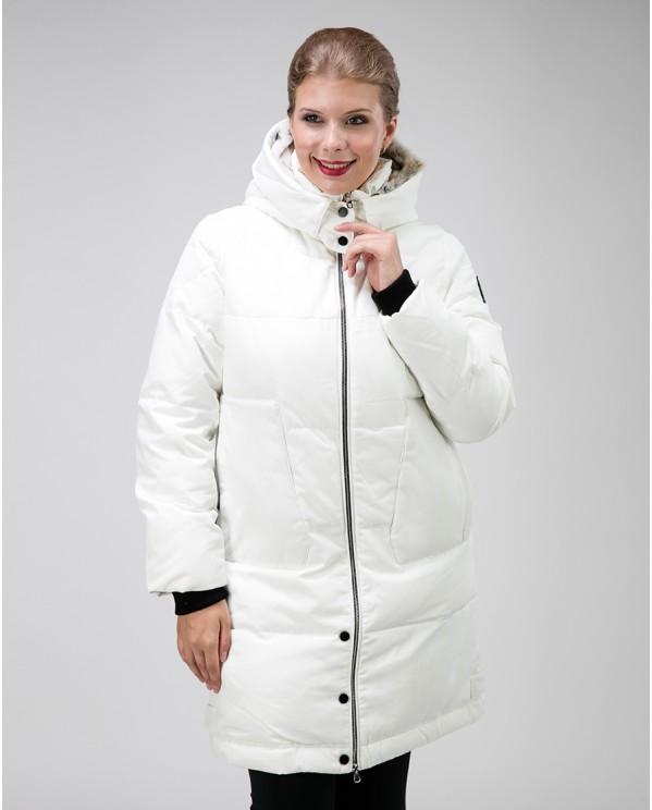 Белая парка женская зимняя с мехом в капюшоне