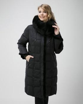 Зимнее пальто пуховик с мехом норки и песца