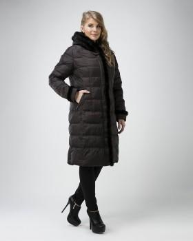 Зимний женский пуховик с мехом норки
