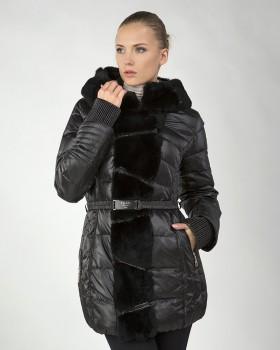 Куртка пуховик женская с кроликом