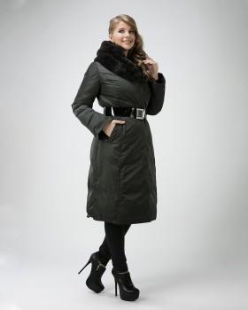 Зимний пуховик с мехом внутри капюшона