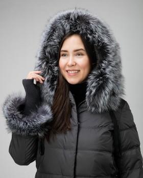 Пуховик женский зимний с чернобуркой