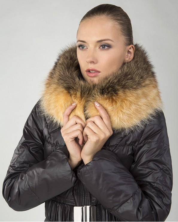 Модный женский пуховик зима с мехом