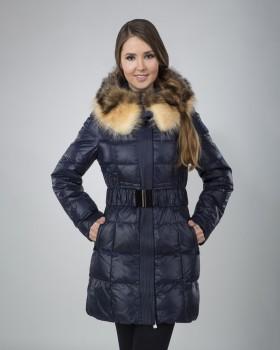 Синий женский зимний пуховик с мехом