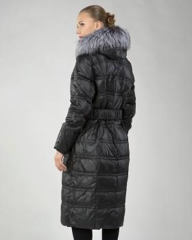 Длинное пуховое пальто с чернобуркой