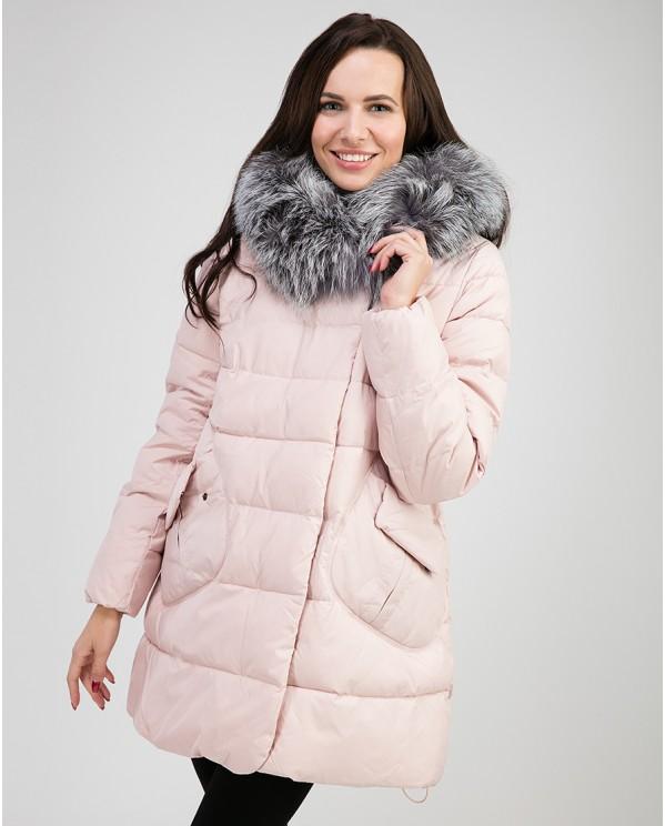 Розовая женская зимняя куртка-пуховик