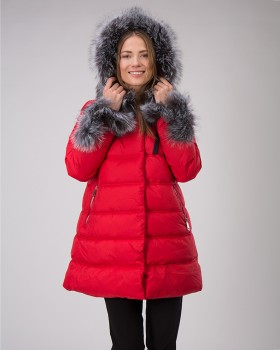 Красная зимняя куртка женская с чернобуркой