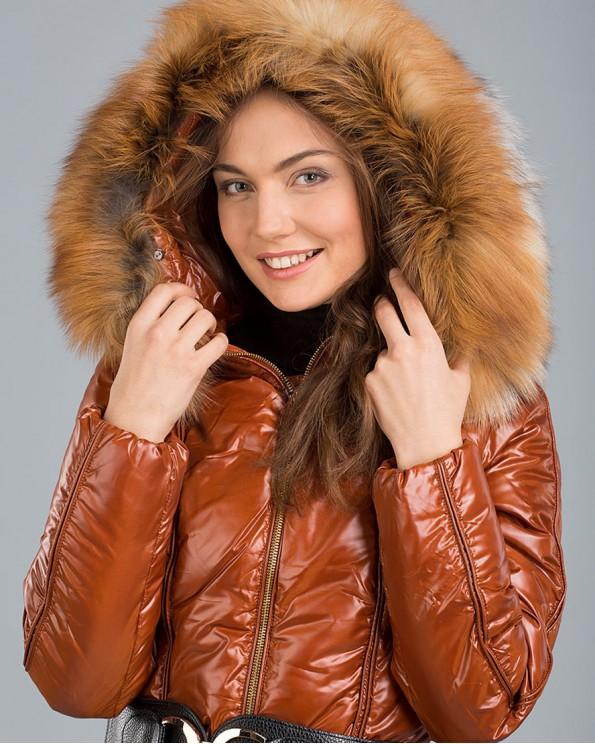 Куртка пуховик блестящая